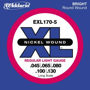 DADDARIO EXL170-5 Regular Light/Long 045-130 Nickelplated Steel Round Wound. Saiten für E-Bass