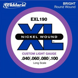 DADDARIO EXL190 Custom Light/Long Scale 040-100 Nickelplated Steel Round Wound. Saiten für E-Bass