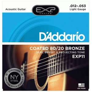DADDARIO EXP11 Coated Light 012-053 Bronze 80/20 Round. Saiten für Westerngitarre