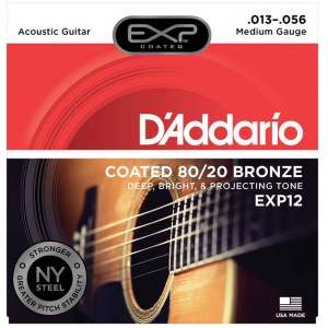 DADDARIO EXP12 Coated Light 013-056 Bronze 80/20 Round. Saiten für Westerngitarre