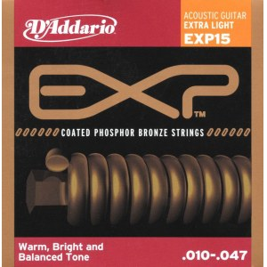 DADDARIO EXP15 Coated PB Extra Light 010-047 Phosphor Bronze Round. Saiten für Westerngitarre