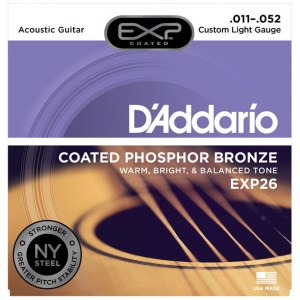 DADDARIO EXP26 Coated PB Custom Light 011-052 Phosphor Bronze Round. Saiten für Westerngitarre