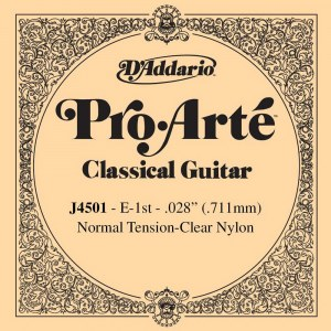 DADDARIO J4501 Pro Arte Normal Tension .028 E-1th Classic Guitar String. Saite für Konzertgitarre