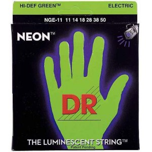 DR STRINGS NGE-11 Neon Green Electric 011-050 Nickel Plated Steel. Saiten E-Gitarre