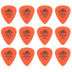 JIM DUNLOP 418R Tortex Standard 0,60mm Pack Plektrum, orange (12 Stück)