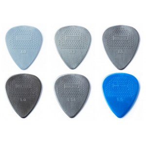 JIM DUNLOP 449P Nylon Max Grip Standard PlayerPack Plektrum (6 Stück - 0,60 - 1,50mm im Set)