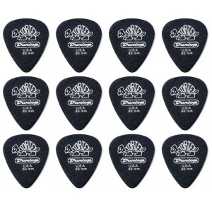 JIM DUNLOP 488P Tortex Pitch Std. Black 0,60 Pack Plektrum (12 Stück)