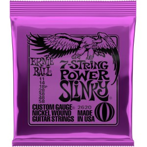 ERNIE BALL 2620 Power Slinky 011-058 Nickel plated Steel. Saiten für 7-string E-Gitarre