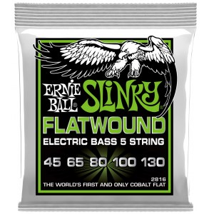 ERNIE BALL 2816 Slinky Flatwound Bass 45-130 Kobalt. Saiten für 5-String E-Bass