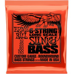 ERNIE BALL 2838 Slinky Bass Long Scale 32-130 Nickelwound Steel. Saiten für 6-String E-Bass