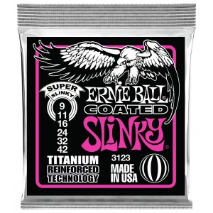 ERNIE BALL 3123 Super Coated Slinky 009-042 Coated Titanium. Saiten für E-Gitarre