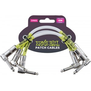 ERNIE BALL 6051 Patch Cable Patchkabel WKl-WKl 15cm (3er Pack), weiss