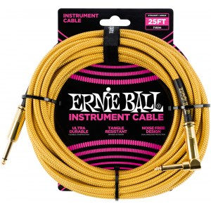 ERNIE BALL 6070 Braided Instrumentenkabel Kl-WKl 7,62m, gold