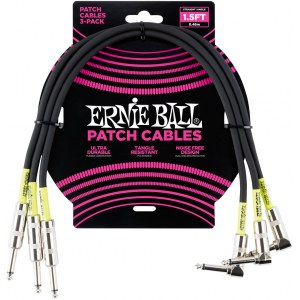 ERNIE BALL 6076 Patch Cable Patchkabel Kl-WKl 46cm (3er Pack), schwarz