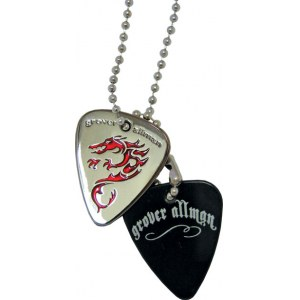 GROVER ALLMAN Pick Pendant Necklace Dragon Halskette im Dogtag-Stil