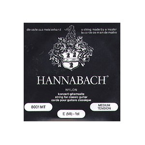 HANNABACH 800 MT Medium Tension E1-E6 Saiten für Konzertgitarre, schwarz