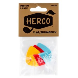 HERCO HE112P Players Pack Flat Thumbpicks Medium Daumen-Plektren (3Stück)