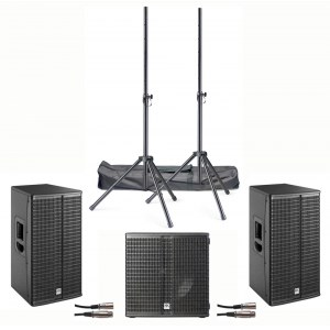 HK-AUDIO Linear 3 112FA Single 15 Base 3,6kW PA-System inkl. 2 XLR Kabel und 2 Boxenstative