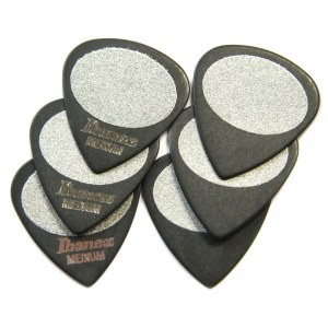 IBANEZ BPA-16 MS-BK Plektren Med 0,8mm Sand Grip Wizard Picks, schwarz (6er Pack)