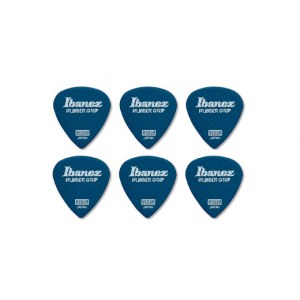 IBANEZ PPA16HRG-DB Flat Pick Rubber Grip 1,0mm Flat Pick Rubber Grip, blau (6Stück)