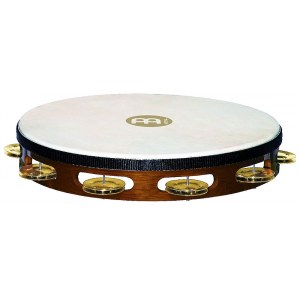MEINL TAH1B-AB Headed Holz einreihig Tambourin mit Messingschellen, african brown