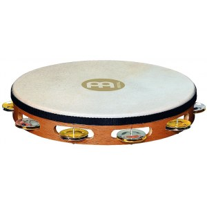 MEINL TAH1M-SNT Headed Recording Combo einreihig Tambourin mit Stahl-/Messingschellen, natural