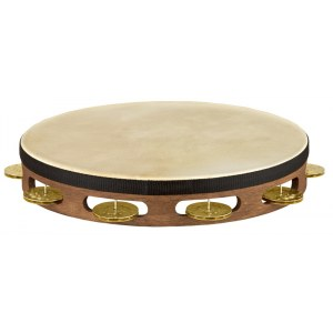 MEINL TAH1V-WB Headed Holz einreihig Tambourin mit Messingschellen, walnut brown