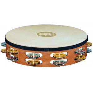 MEINL TAH2M-SNT Headed Recording Combo 2-reihig Tambourin mit Stahl-/Messingschellen, natural