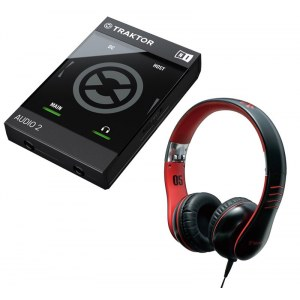 NATIVE Traktor Audio 2 Mk2 USB / HMX-05 BK Bundle Audio-Interface inkl. Vestax HMX-05 Kopfhörer