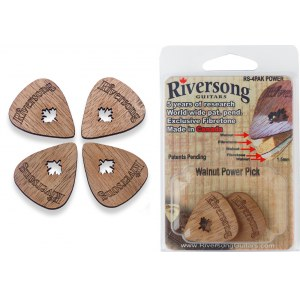 RIVERSONG RS-4 PAK Power 1.5 Walnuss Picks Plektrenpack (4 Stück)