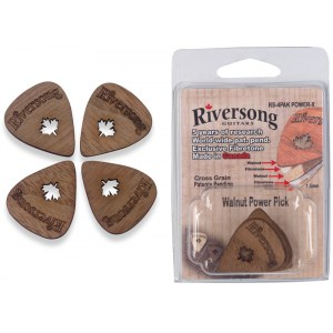 RIVERSONG RS-4 PAK Power X 1.5 Walnuss Picks Plektrenpack (4 Stück) (Quermaserung)