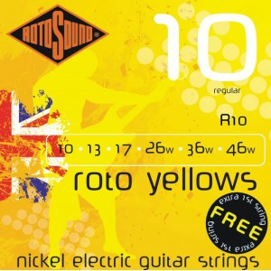 ROTOSOUND R-10 Roto Yellows Regular 010-046 Nickel plated Steel. Saiten für E-Gitarre