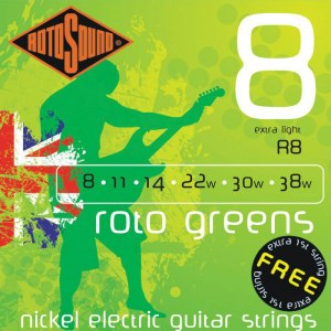 ROTOSOUND R-8 Roto Greens Extra Light 008-038 Nickel plated Steel. Saiten für E-Gitarre