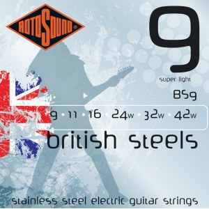 ROTOSOUND BS-9 British Steel Super Light 009-042 Pure Steel. Saiten für E-Gitarre