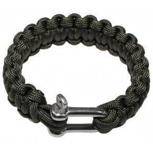 SURVIVAL Armband Paracord Metall 23mm oliv S Notfall-Ausrüstung