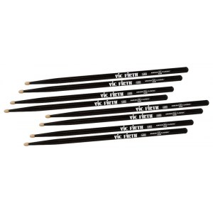 VIC FIRTH American Classic Wood Tip 5AB (4 Paar) American Hickory Drumsticks, schwarz